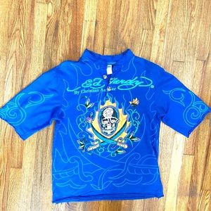 Ed Hardy Distressed Blue T Shirt W/Sequins